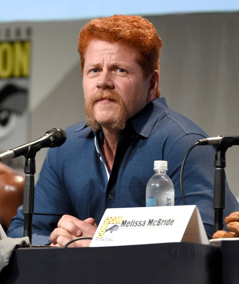 """FILE – In this July 10, 2015 file photo, Michael Cudlitz attends """"The Walking Dead"""" panel on day 2 of Comic-Con International in San Diego, Calif. Cudlitz's character Abraham Ford is known for his bright red hair and that distinctive handlebar mustache.  In fact, the actor said his facial hair has so captivated fans of the zombie apocalypse drama they've even created a Twitter account for it.  (Photo by Chris Pizzello/Invision/AP, FIle)"""