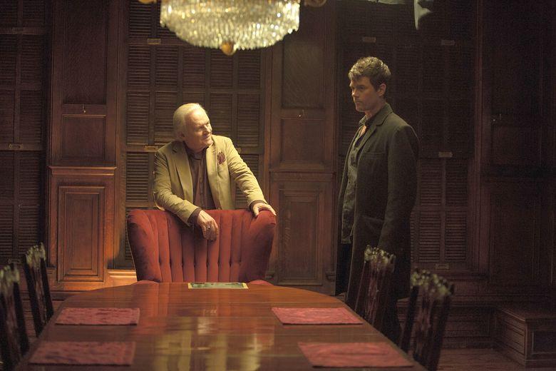 "Arthur Denning (Anthony Hopkins, left) and Ben Cahill (Josh Duhamel) in ""Misconduct."" (Steve Dietl)"