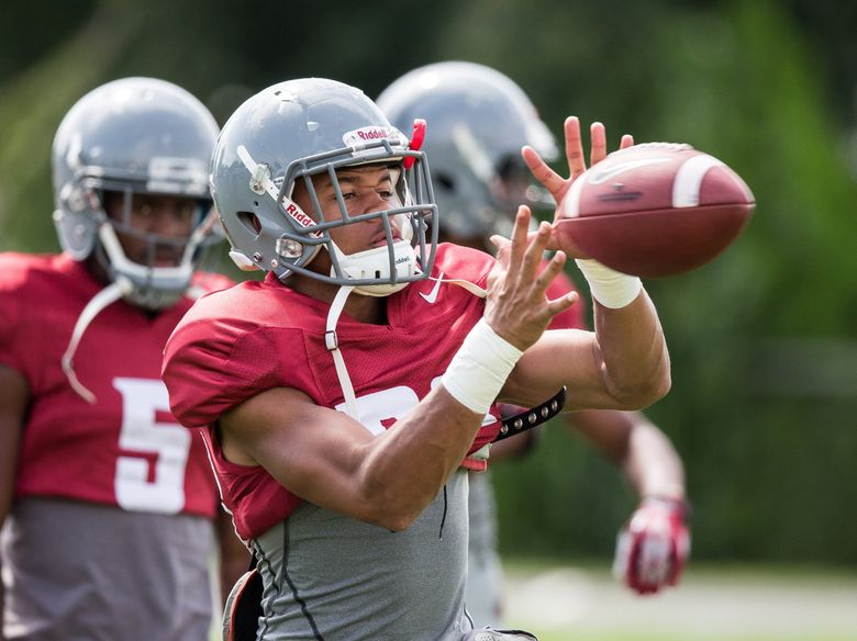 Washington State's Calvin Green, then a receiver, catches a pass during Cougars camp Aug. 13, 2014, in Lewiston, Idaho. (Dean Rutz / The Seattle Times)