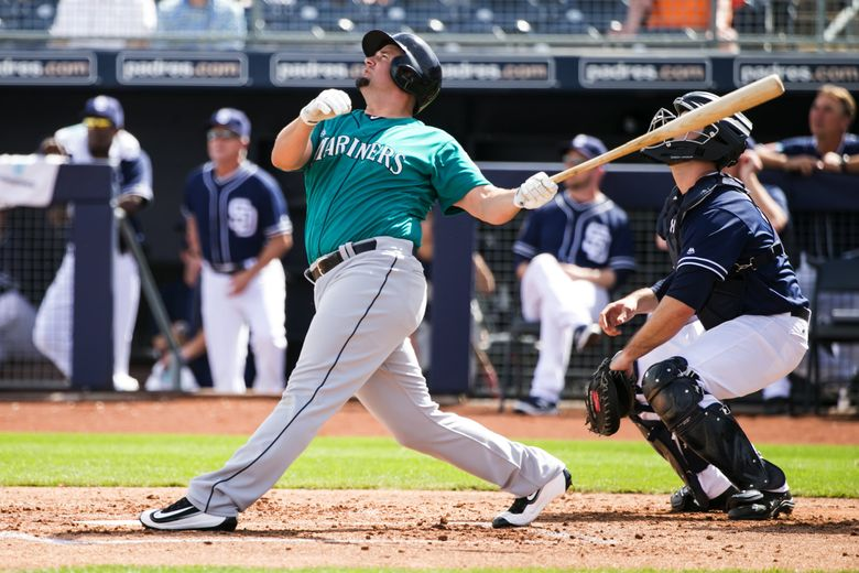 MARINERS FILE —    Seattle Mariners infielder Gaby Sanchez flies out against the the San Diego Padres at Peoria Stadium for their second game of Cactus League play in Peoria, Arizona, Thursday March 3, 2016.