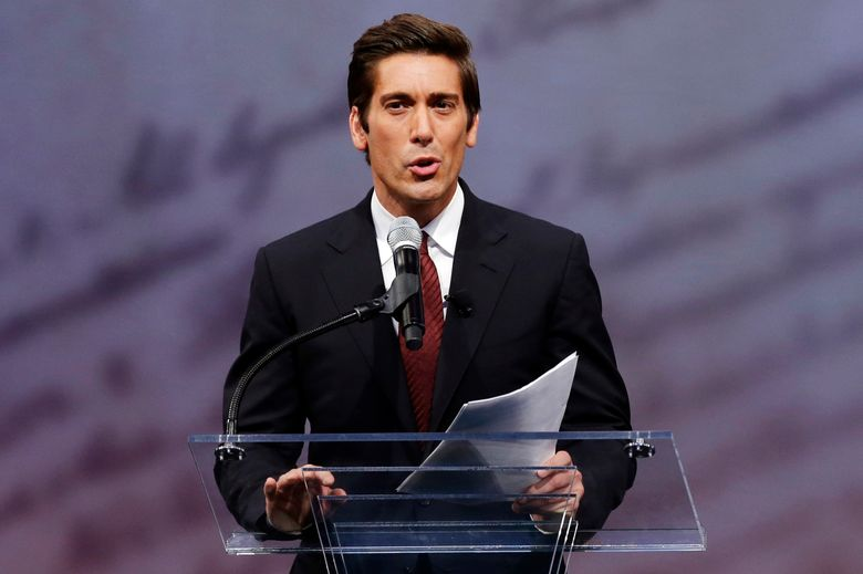 FILE – In this Sept. 13, 2012 file photo, ABC News anchor David Muir speaks before retired boxing champion Muhammad Ali received the Liberty Medal during a ceremony at the National Constitution Center in Philadelphia.  ABC News is devoting an hour in prime time on Friday, March 11, 2016 to a program anchored by Muir on the alarming rise in heroin overdoses in New Hampshire. (AP Photo/Matt Rourke)