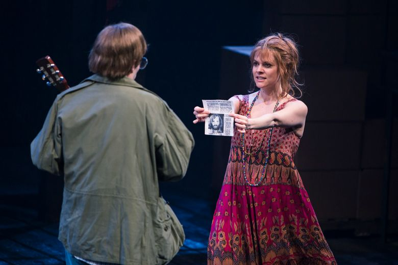 """Lynette """"Squeaky"""" Fromme (played by Laura Griffith) and John Hinckley (Frederick Hagreen) in """"Assassins,"""" a coproduction between 5th Avenue Theatre and ACT – A Contemporary Theatre. (Tracy Martin/www.tracymartinphotography.com)"""