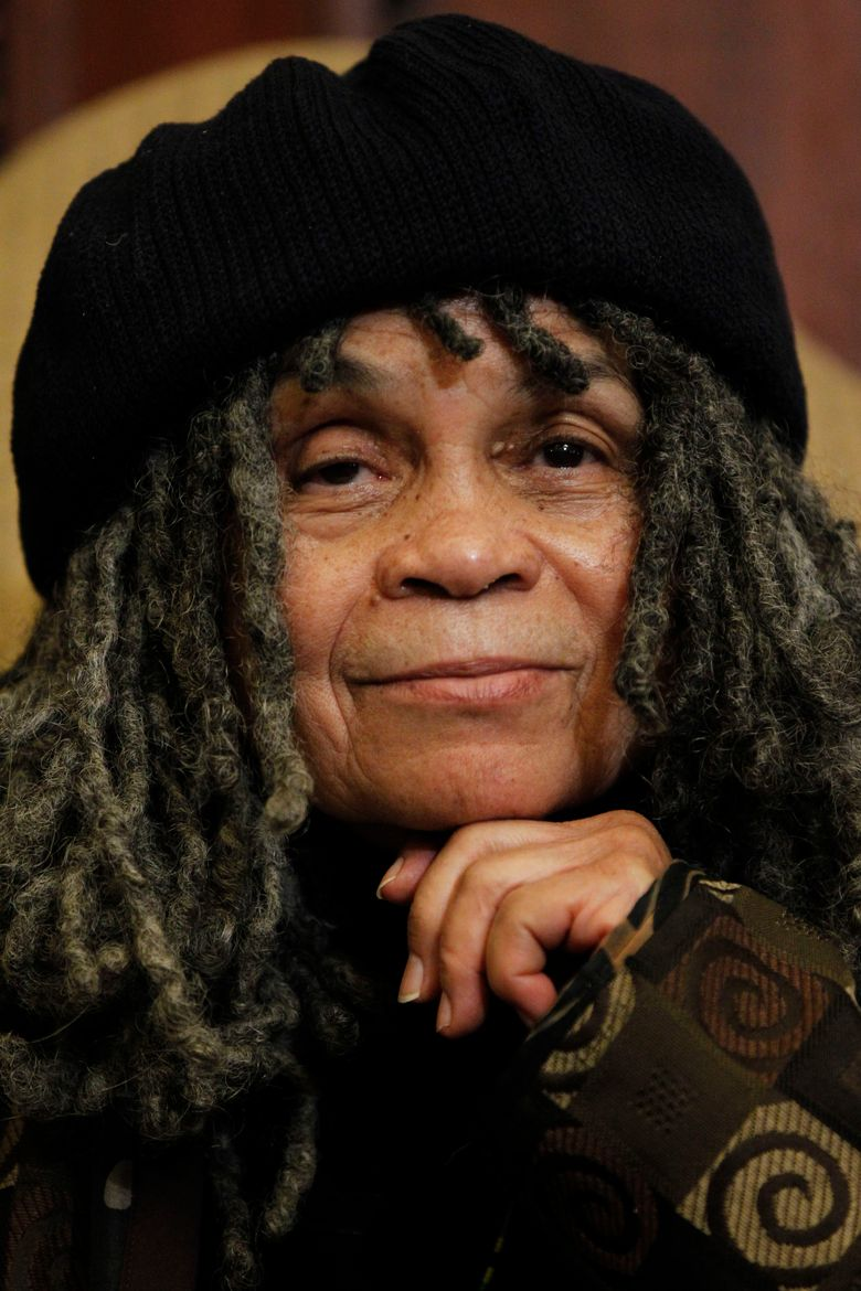 """FILE – In this Dec. 29, 2011, file photo, Philadelphia poet laureate Sonia Sanchez looks on as Mayor Michael Nutter makes remarks during a news conference in Philadelphia. When a team of documentary makers first suggested a movie about her life, Sanchez resisted. But she eventually changed her mind, in part because her children thought it was a good idea to reflect on her life, what she had learned and how she survived. """"BaddDDD Sonia Sanchez"""" airs on Tuesday, March 8, 2016, on World Channel's """"America ReFramed"""" series. The 90-minute film includes interviews, archival footage and tributes from such artists as Questlove, Mos Def and Ruby Dee. (AP Photo/Matt Rourke, File)"""