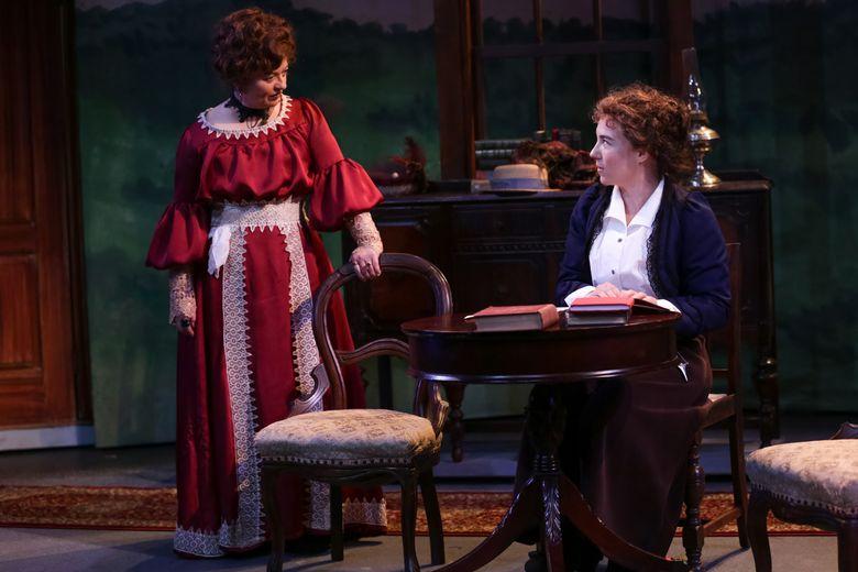 "Bobbi Kotula, left, and Emily Chisholm in George Bernard Shaw's ""Mrs. Warren's  Profession"" at Seattle Shakespeare Company. (John Ulman photo)"