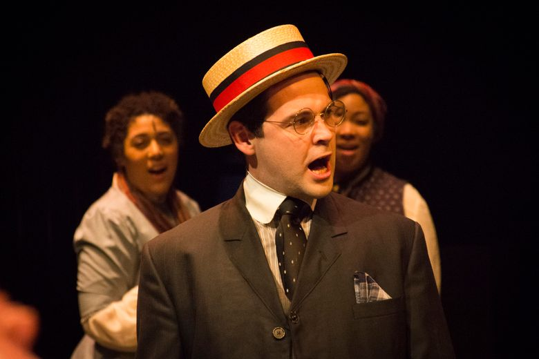"""From left, Madison Jones, Jeff Orton and Victoria Rosser in """"Parade,"""" a Sound Theatre production at 12th Ave Arts (Ken Holmes)"""