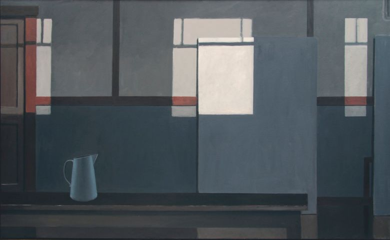 """""""Mondrian's Studio with the Lights Off (Blue Pitcher),"""" a 2016 oil painting by Norman Lundin at Greg Kucera Gallery, looks realistic but also teases the abstractionist Mondrian, famous for his paintings of grids."""