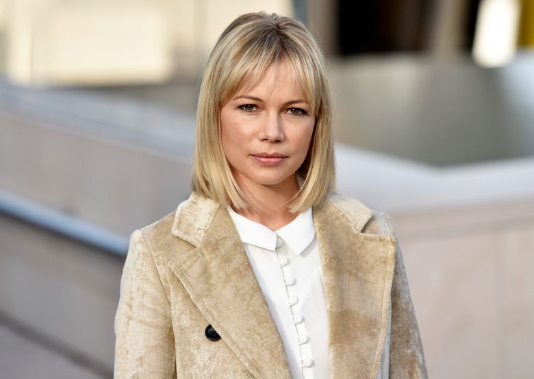 """FILE – In this Oct. 7, 2015, file photo, actress Michelle Williams arrives at Louis Vuitton's Spring-Summer 2016 ready-to-wear fashion collection during Paris Fashion Week in Paris, France. Williams is starring opposite Jeff Daniels in """"Blackbird,"""" disturbing tale of an older man, a much younger woman and what happens when they meet 15 years after their brief and illegal relationship has ended. It marks the first big job Williams has tackled since she spent the better part of a year singing and dancing in the latest revival of """"Cabaret."""" (AP Photo/Zacharie Scheurer, File)"""