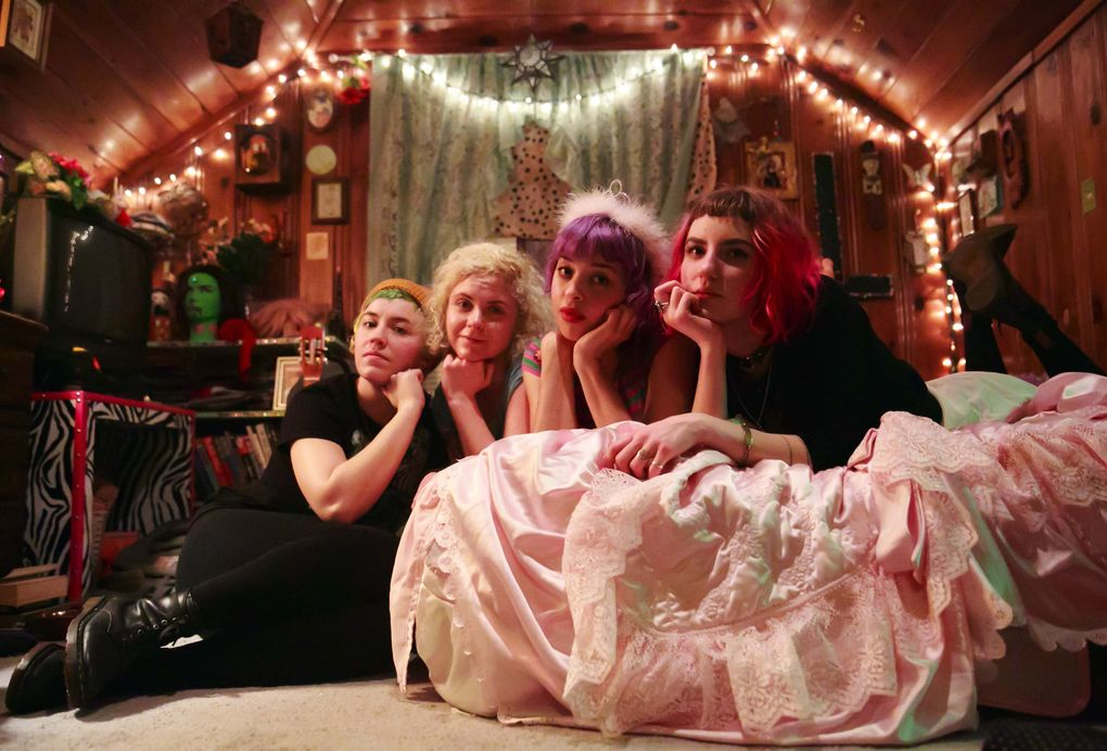 Mommy Long Legs, from left: Melissa Kagerer, Cory Budden, Lilly Morlock and Leah Miller. They say a DIY spirit, all-ages spaces and KEXP-FM help feminist punk thrive here. (Erika Schultz/The Seattle Times)