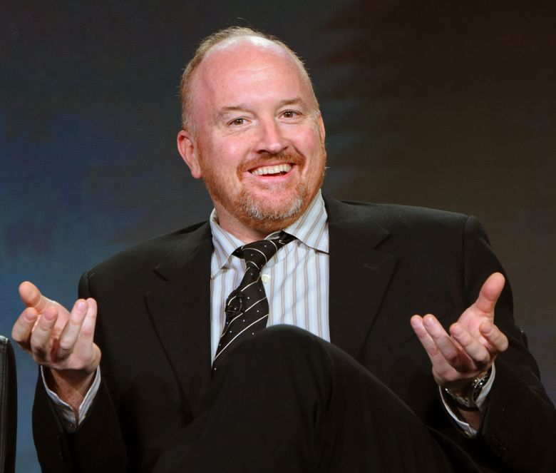"""FILE – In this Jan. 16, 2016 file photo, Louis C.K. participates in the """"Baskets"""" panel at the FX Networks Winter TCA in Pasadena, Calif. Louis C.K. and Russell Brand will perform at a benefit supporting veterans with post-traumatic stress disorder on April 30 at the New York City Center. (Photo by Richard Shotwell/Invision/AP, File)"""
