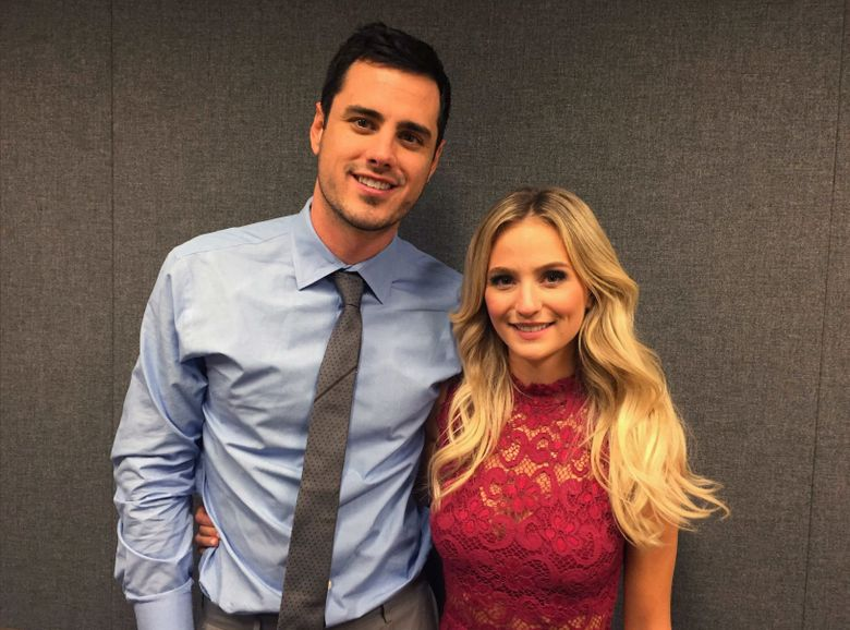 """Ben Higgins and Lauren Bushnell pose for a photo, Tuesday, March 15, 2016, in New York. Higgins proposed marriage to Bushnell in the season finale of ABC's """"The Bachelor."""" The show just wrapped its 20th season. (AP Photo/Alicia Rancilio)"""