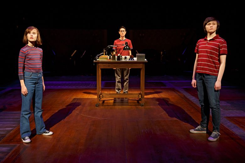 """This photo provided by O&M Co shows Sydney Lucas as Small Alison, Beth Malone as Alison, and Emily Skeggs as Medium Alison in """"Fun Home"""" at Circle in the Square Theatre in New York. The cast went to Spotify's New York headquarters and performed new takes on their Tony Award-winning songs for Spotify Sessions, available online Friday. (Joan Marcus via AP, File)"""
