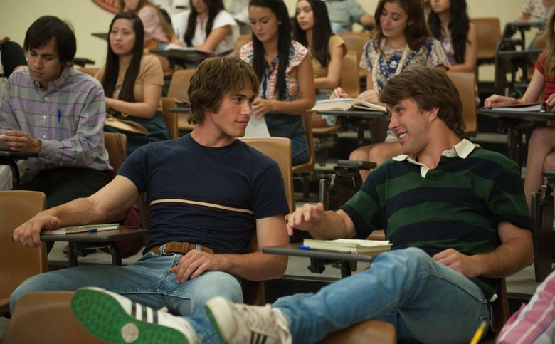 """Blake Jenner, left, and Temple Baker in """"Everybody Wants Some!!"""" Now playing in several theaters.  (Van Redin/The Associated Press)"""