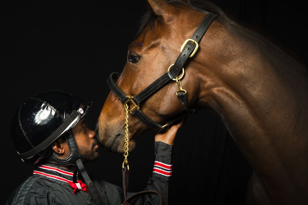 Stopshoppingdebbie is pictured with her jockey, Rocco Bowen, on April 4, 2014, at Emerald Downs. (John Lok / The Seattle Times)