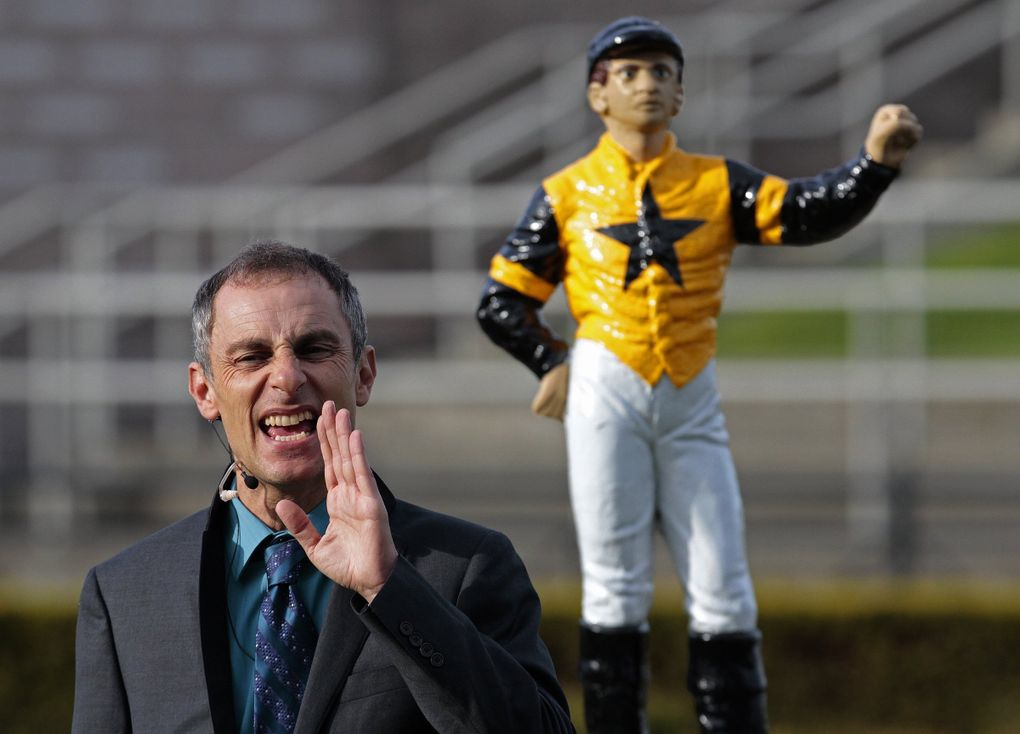Track announcer Robert Geller is pictured April 13, 2012, on the opening day of racing at Emerald Downs. (Mark Harrison / The Seattle Times)