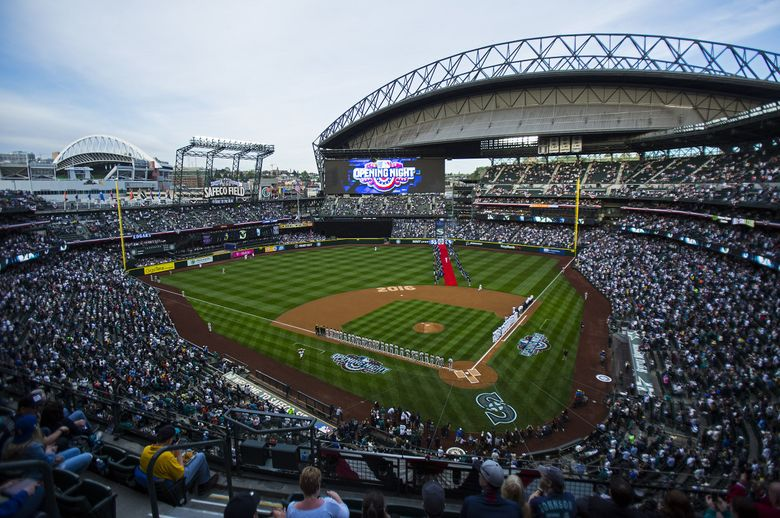The Seattle Mariners take to the field at the Mariners' home opener at Safeco Field, Friday, April 8, 2016. (Sy Bean / The Seattle Times)