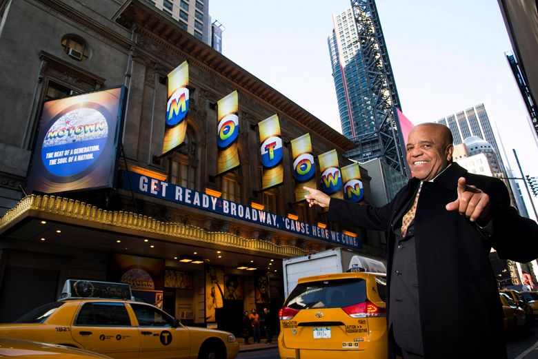 """FILE – This March 5, 2013 file photo shows Berry Gordy posing for a portrait in front of the Lunt-Fontanne Theatre where """"Motown: The Musical,"""" opened on Broadway in New York. The hit musical about Gordy is coming back to Broadway this summer for an 18-week stand at the Nederlander Theatre. (Photo by Charles Sykes/Invision/AP, File)"""