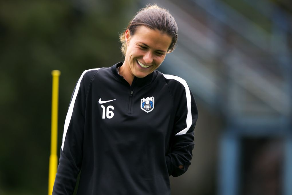 Seattle Reign FC defender Carson Pickett laughs during soccer practice on April 11, 2016. (Bettina Hansen/The Seattle Times)