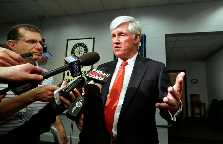John Stanton, the Mariners' new chairman and CEO, speaks with media members following a news conference Wednesday. (Elaine Thompson/AP)