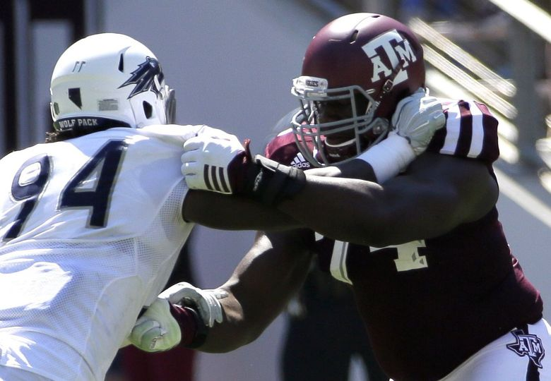 Offensive lineman Germain Ifedi is a good athlete for a big guy and moves well along the line. His brother Martin plays for the Tampa Bay Bucs. (David J. Phillip/AP)