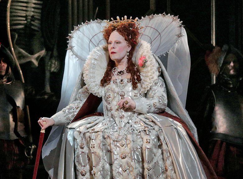 "This image released by the Metropolitan Opera shows Sondra Radvanovsky in in Donizetti's opera ""Roberto Devereux,"" which will be broadcast on Saturday, April 16. (Ken Howard/Metropolitan Opera via AP)"