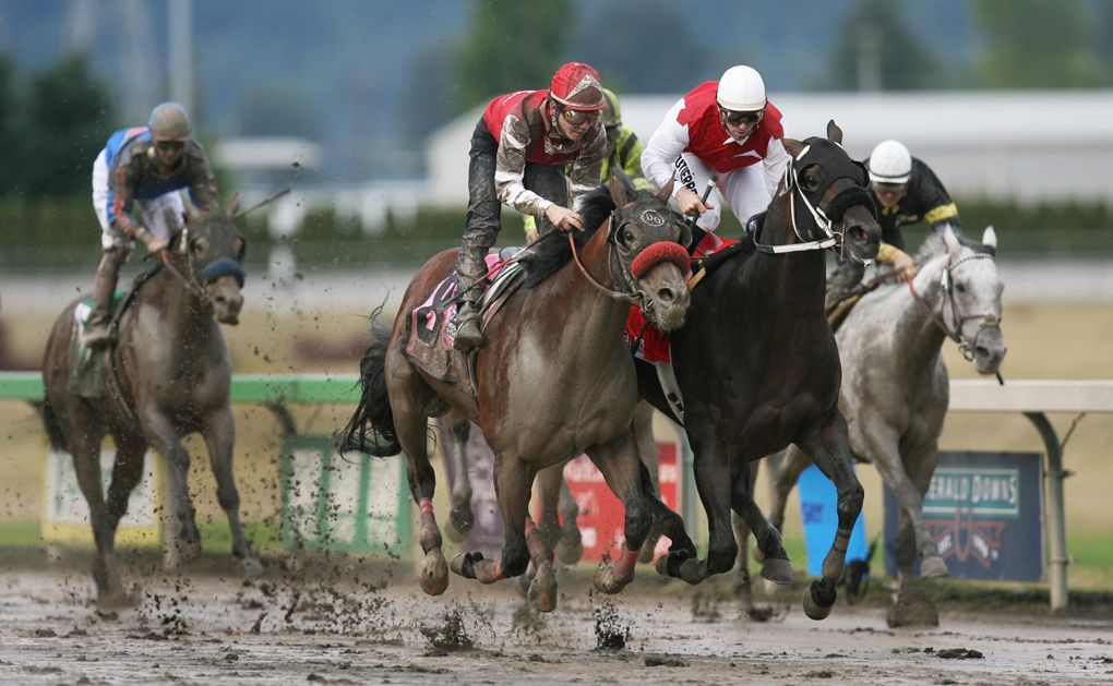 Juan Gutierrez (white cap) nudges Great Face ahead of Tyler Baze (red) aboard Raise the Bluff to win the 2007 Longacres Mile for owner Ron Crockett on Aug. 19, 2007. (Rod Mar / The Seattle Times)