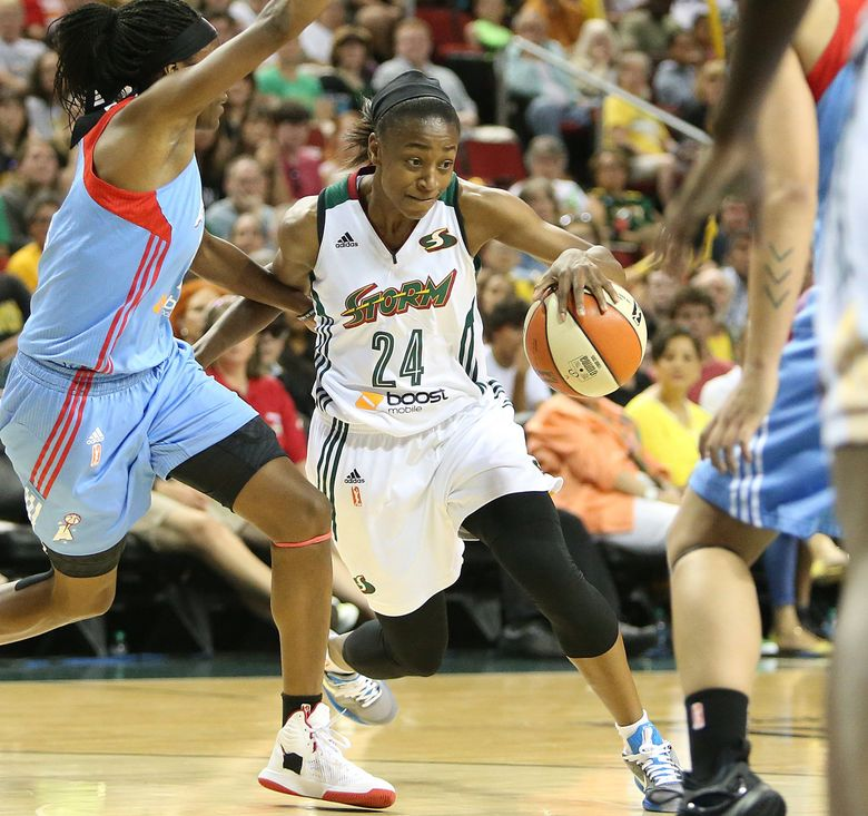 The Storm's Jewell Loyd dribbles past Atlanta's Tiffany Hayes, left, in a game last season.  (Sy Bean/The Seattle Times)
