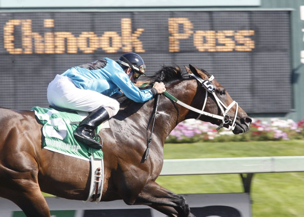 Atta Boy Roy sets a track and state record of 1:07 for 6 furlongs on Sept. 12, 2009. (Photo courtesy Emerald Downs)