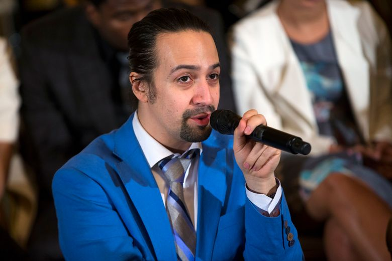"""FILE – In this March 14, 2016, file photo, actor Lin-Manuel Miranda speaks during an event with the cast of the Broadway play """"Hamilton"""" in the East Room of the White House in Washington. Miranda has accepted Thursday, April 7, 2016, one of the largest prizes given for dramatic writing, saying that his creation of the Broadway smash """"Hamilton"""" was parked by learning about Alexander Hamilton's immigrant roots. (AP Photo/Evan Vucci, File)"""