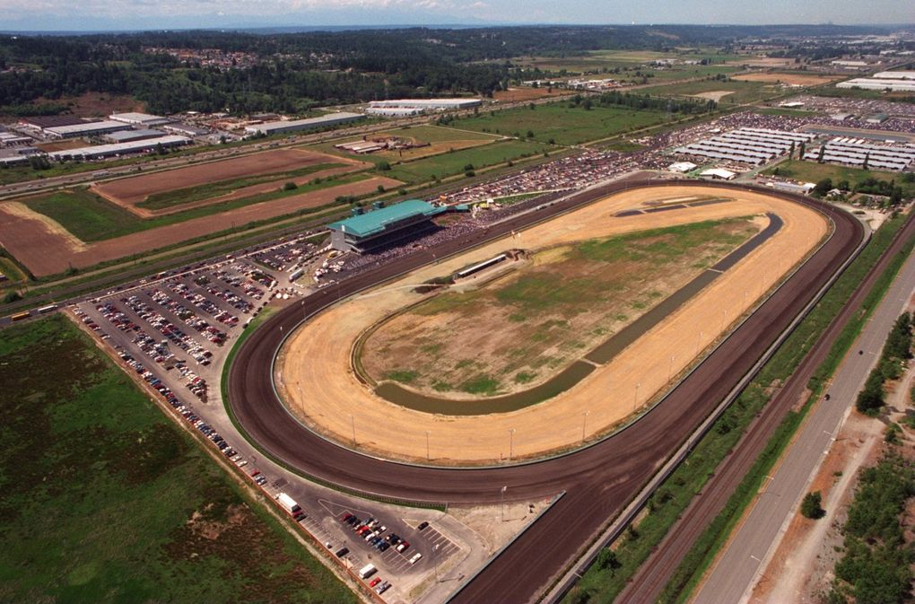 Emerald Downs race track is pictured on opening day. (Pedro Perez / The Seattle Times)