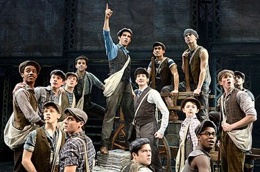 """Joey Barreiro, center, and the North American tour company of """"Newsies."""" The Disney musical visits Seattle for eight performances starting on April 26. (Deen van Meer)"""