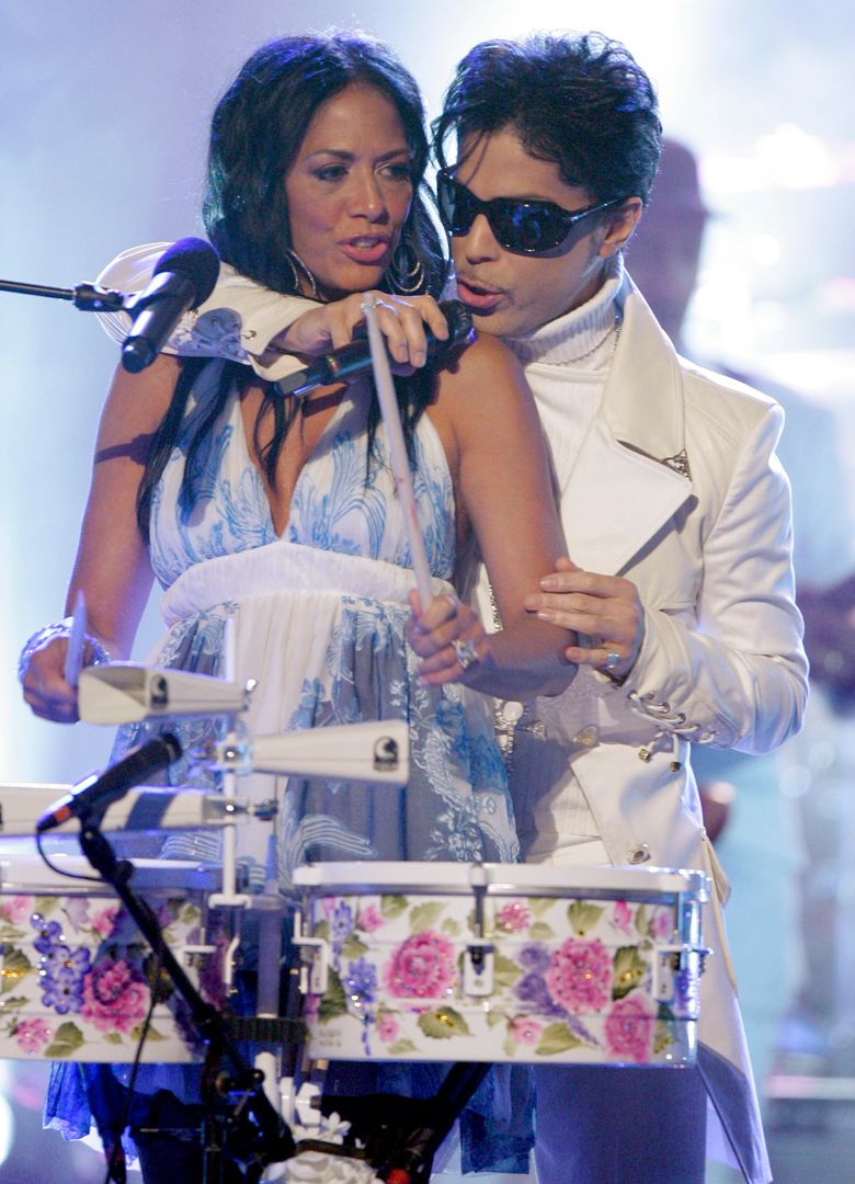 FILE – In this June 1, 2007 file photo, Prince performs with Sheila E during the 2007 National Council of La Raza ALMA Awards in Pasadena, Calif.  Sheila E. was a former percussionist and vocalist for musician Prince, who died Thursday, April 21, 2016 at his home outside Minneapolis. (AP Photo/Mark J. Terrill, File)