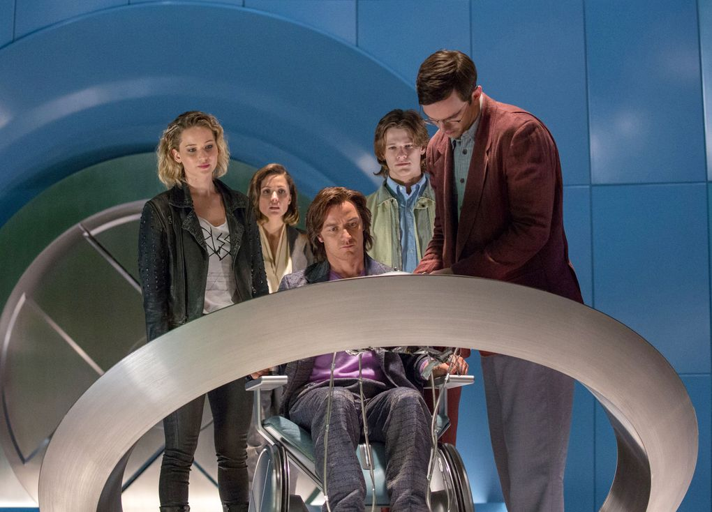 """In this image released by 20th Century Fox, Jennifer Lawrence, Rose Byrne, James McAvoy, Lucas Till and Nicholas Hoult appear in a scene from, """"X-Men: Apocalypse,"""" in theaters nationwide on May 27. (Alan Markfield/20th Century Fox via AP)"""