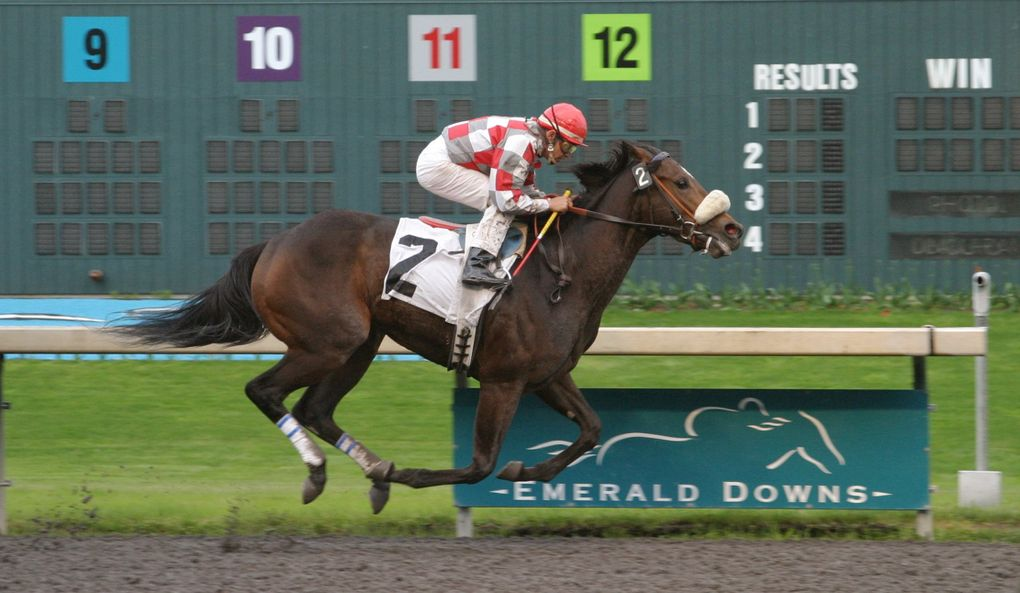 Ema Bovary, with jockey Roberto Gonzales aboard, wins the Washington State Legislators Stakes at Emerald Downs on May 25, 2003. (Photo courtesy Emerald Downs)