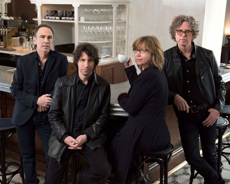 """This image released by Heidi Ehalt, shows Tim O'Reagan, from left, Marc Perlman, Karen Grotberg and Gary Louris of The Jayhawks. The group has a new release, """"Paging Mr. Proust."""" (Heidi Ehalt via AP)"""