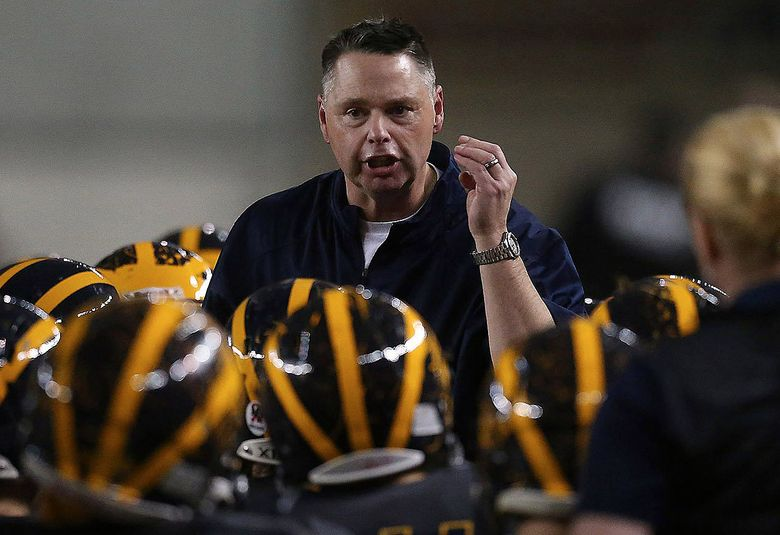 Bellevue High coach Butch Goncharoff has led the Wolverines to 11 Class 3A state football titles since 2001.  (Sy Bean/The Seattle Times)