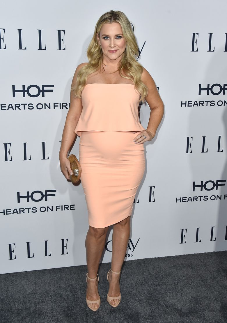 """FILE – In this Jan. 20, 2016, file photo, Jessica Capshaw arrives at ELLE's 6th annual Women in Television celebration at the Sunset Tower Hotel in Los Angeles. In an Instagram post on May 9, 2016, the 39-year-old actress say Josephine Kate Gavigan was born on May 2. She writes that she's """"endlessly grateful for her safe arrival,"""" adding that her """"heart is so full of love that it threatens to burst."""" (Photo by Jordan Strauss/Invision/AP, File)"""