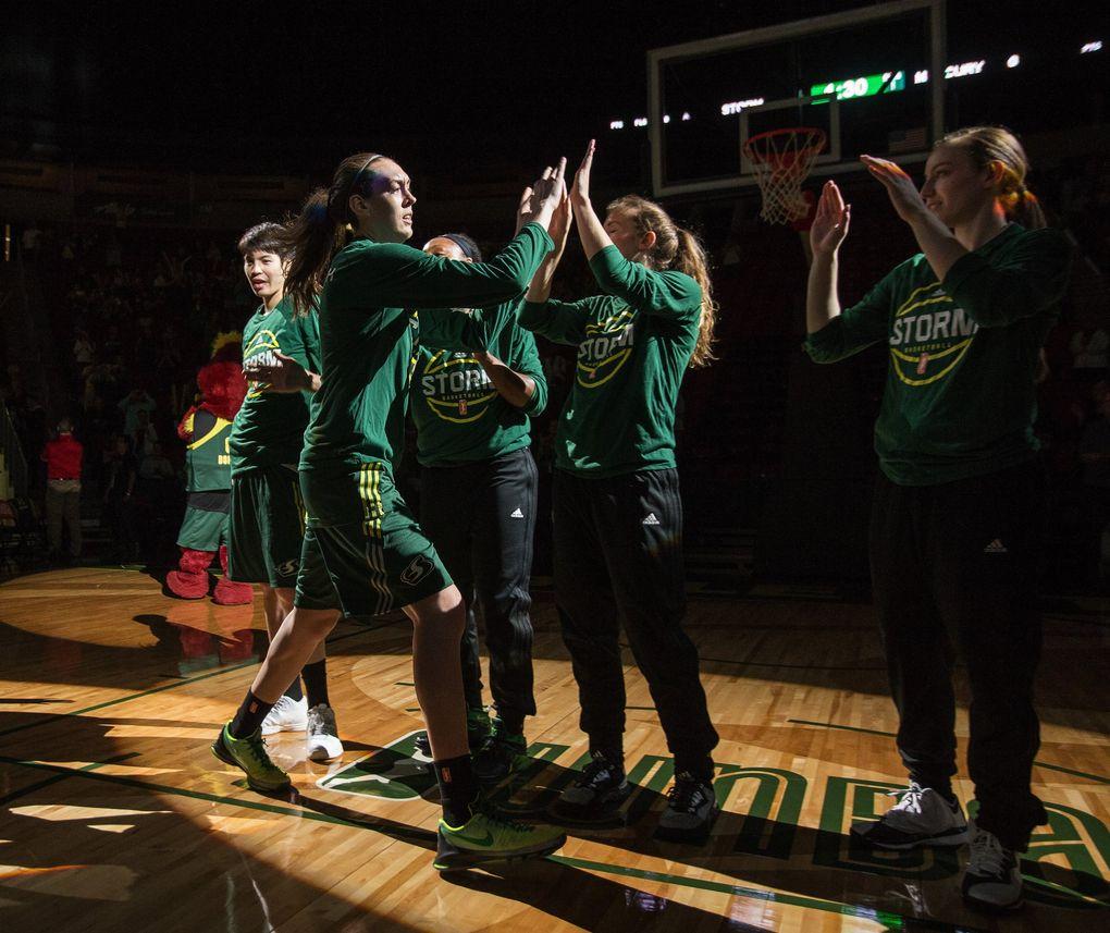 The Breanna Stewart era officially began with a WNBA preseason opener against Phoenix on May 4. (Dean Rutz / The Seattle Times)