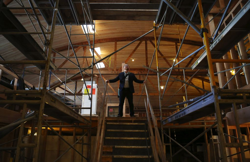 Robert Sindelar, managing partner of Third Place Books in Lake Forest Park, is overseeing construction of Third Place's new bookstore in Seward Park. (Ken Lambert / The Seattle Times)