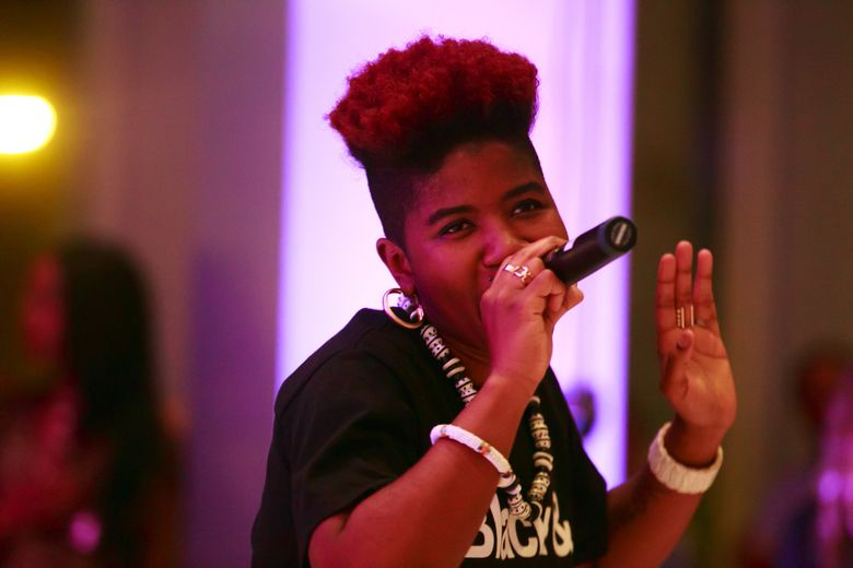 """SassyBlack, seen performing at the Seattle Art Museum earlier this year, celebrates the release of her first solo album, """"No More Weak Dates,"""" Tuesday, May 17, at Barboza. (Erika Schultz/The Seattle Times)"""