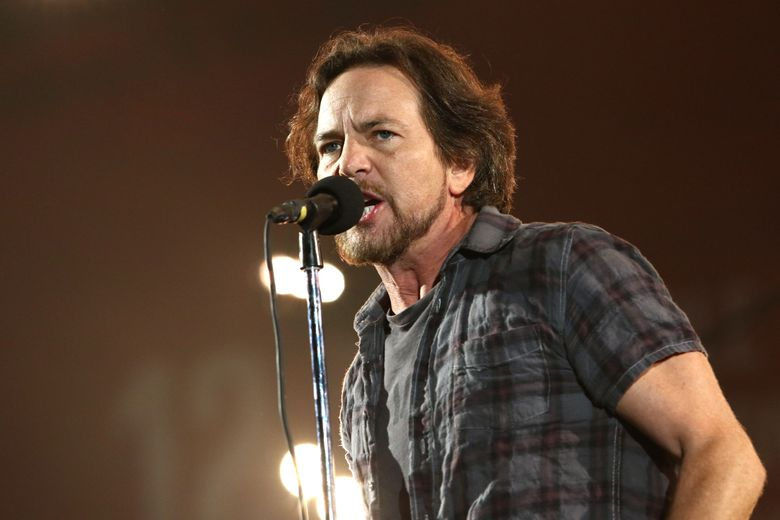 """FILE – In this Sept. 26, 2015 file photo, Eddie Vedder, of Pearl Jam, performs at the Global Citizen Festival in Central Park in New York. Ten-year-old Noah Keeley of Bar Harbor, Maine, was invited onstage to play with Pearl Jam last week in Quebec City. He sat on a stool and played along with the Pearl Jam song, """"Sad."""" Vedder invited him onstage to play after seeing the boy in the audience May 5 at the Videotron Centre.  (Photo by Greg Allen/Invision/AP, File)"""