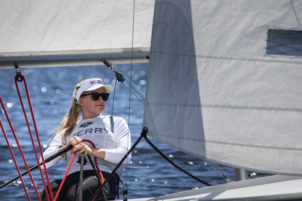 It was in the Seattle area that Helena Scutt first learned to sail. On this day she takes out a small sailboat at Sail Sand Point. Helena Scutt and teammate Paris Henken have qualified for the 2016 Olympic Summer Games in Rio in the 49erFX sailing event.  (Dean Rutz/The Seattle Times)