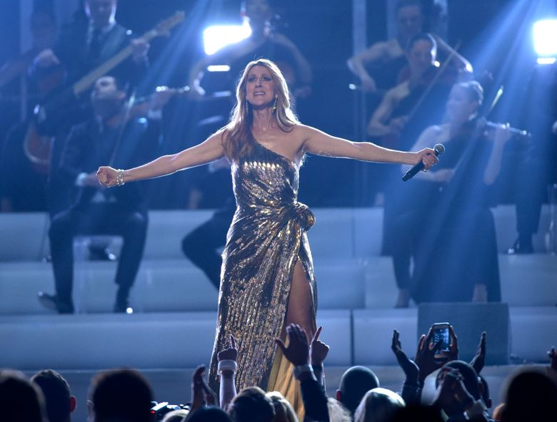 """Celine Dion performs """"The Show Must Go On"""" at the Billboard Music Awards at the T-Mobile Arena on Sunday, May 22, 2016, in Las Vegas. (Photo by Chris Pizzello/Invision/AP)"""