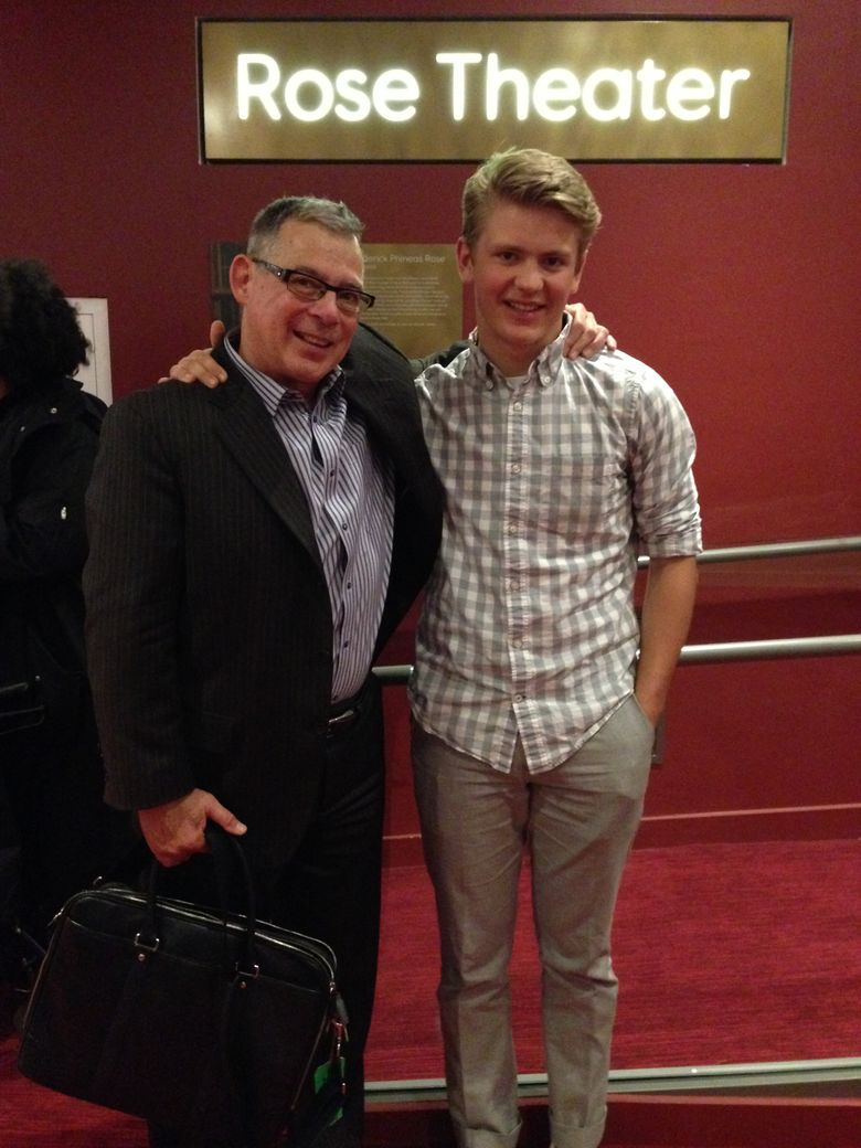 Roosevelt High School Jazz Band trombonist Porter Jones, right, was one of just two Ella Fitzgerald Outstanding Soloist Award winners at this year's Essentially Ellington festival in New York over the weekend. Porter is shown with band director Scott Brown. (Courtesy of Scott Brown)