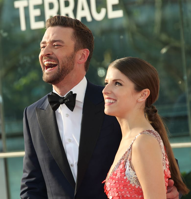 Actors Justin Timberlake, left, and Anna Kendrick poses for photographers upon arrival at the British Academy Television Awards' in London, Sunday, May 8, 2016. (Photo by Joel Ryan/Invision/AP)