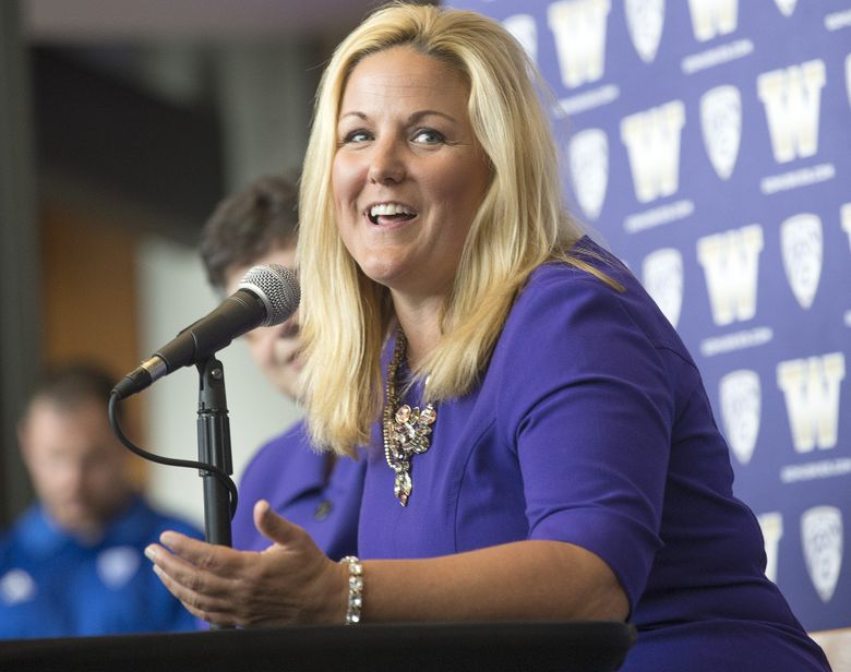 Jennifer Cohen's charisma showed through during the news conference introducing her as the new athletic director at Washington. (Mike Siegel/The Seattle Times)