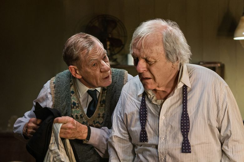 """In this undated image made available by Starz on Thursday May 26, 2016, shows British actors Sir Ian McKellen, left, and Sir Anthony Hopkins performing in the TV drama The Dresser.  He's a much-lauded, Academy Award-winning performer who created one of the great movie villains in Hannibal Lecter. But as he reflects on playing a fading stage star in TV movie """"The Dresser,"""" Anthony Hopkins says: """"I wasn't cut out to be an actor."""" (Joss Barratt/Starz via AP)"""