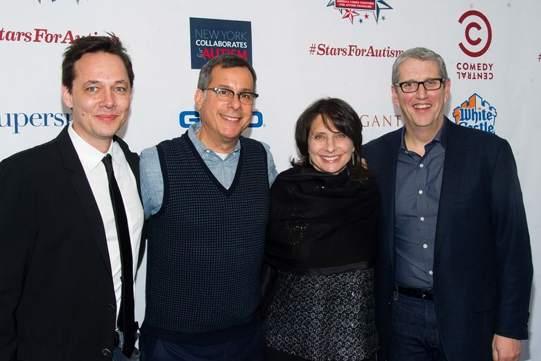 """FILE – In my Feb. 28, 2015 file photo, Jonas Larsen, from left, Kent Alterman, Michele Ganeless and Doug Herzog attend Comedy Central's """"Night of Too Many Stars: America Comes Together for Autism Programs"""" at the Beacon Theatre in New York. Comedy Central's longtime president is leaving as the cable channel faces declining ratings. The channel said Monday, May 9, 2016, that Ganeless will be replaced by Alterman, who as president of original programming guided shows including """"Inside Amy Schumer."""" (Photo by Charles Sykes/Invision/AP, File)"""