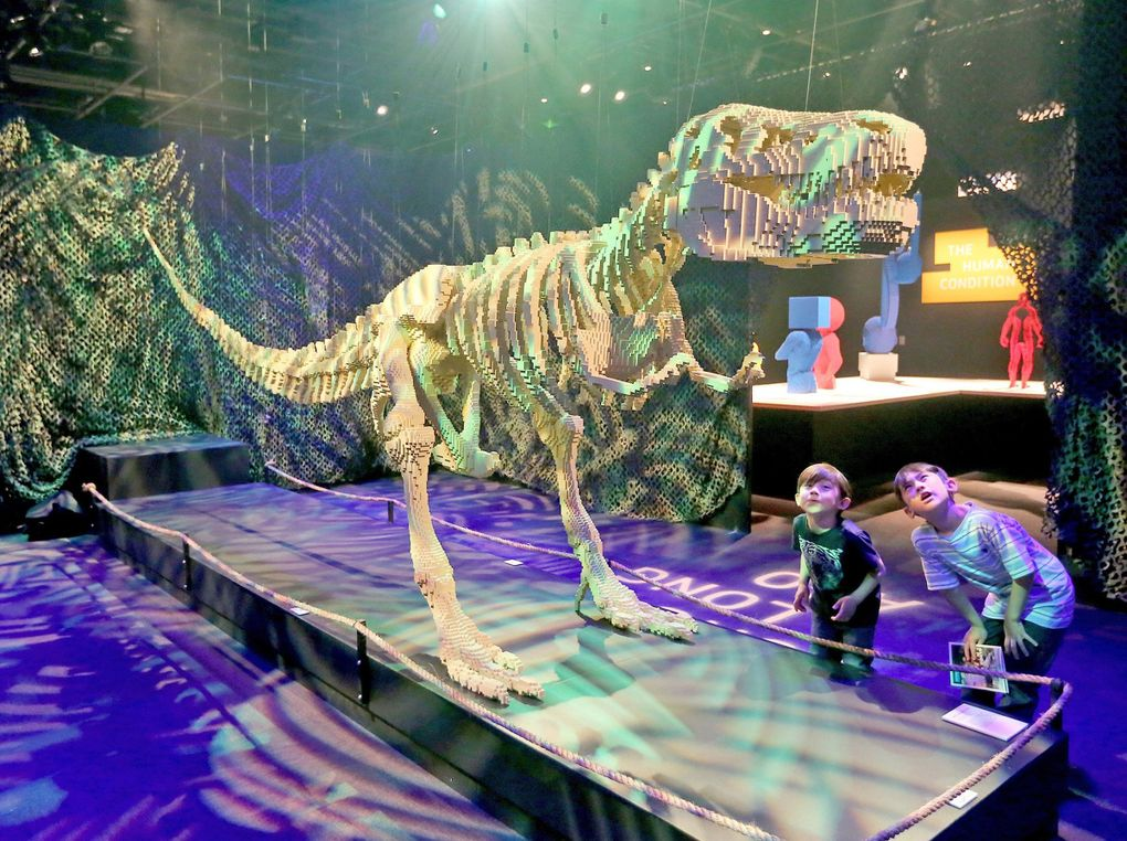 """Ethan Elms, left, 5, and his brother Austin Elms, 7, from Seattle, get a good look at artist Nathan Sawaya's 80,020 piece """"Dinosaur Skeleton"""" on display at the Pacific Science Centeron June 1.(Greg Gilbert / The Seattle Times)"""