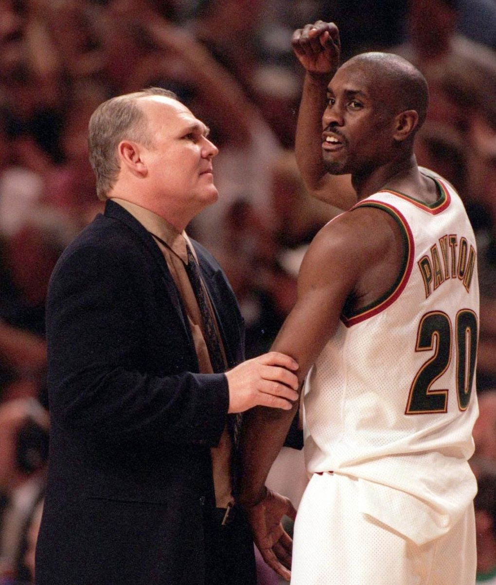 Sonics coach George Karl and point guard Gary Payton in 1996. (Mark Harrison /  The Seattle Times)
