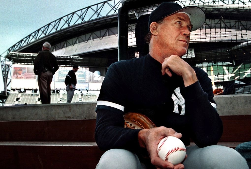 Yakima native Mel Stottlemyre, then pitching coach for the New York Yankees, sits in the dugout of Safeco Field prior to a game against the Mariners on April 6, 2000. The following day, Stottelmyre announced that he would be undergoing treatment for cancer. (Roy Musitelli / Yakima Herald-Republic)